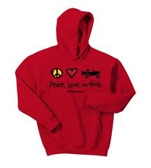 Kid's Hoodie - Peace, Love & 4x4's Sweatshirt (Multiple Colors)