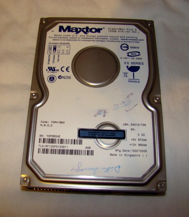 Maxtor 6Y120P0 120GB UDMA//133 7200RPM 8MB IDE Hard Drive