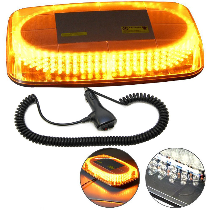 hqrp 240led strobe amber emergency warning mini strobe light bar magnetic base