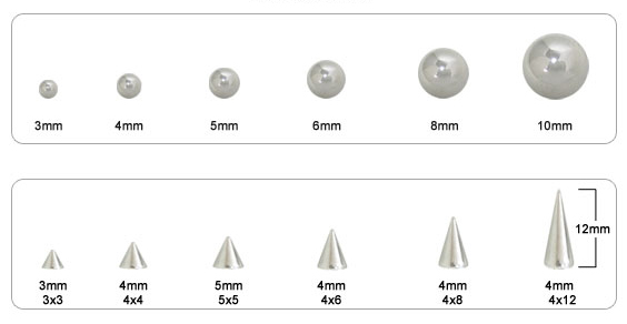 Body Jewelry Color Chart Bead Sizes And Sizes Chart