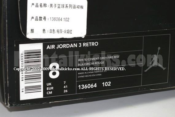 Air Jordan Retro 3 Hvit Sement Grå-brann Rød LxN2Cxz9c