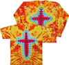 Orange and Yellow Cross Christian Tie Dye Tee Shirts