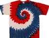 red white blue spiral tie dye t shirt