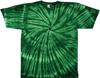 forest green spiral tie dye shirt