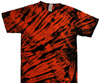 Orange black tiger stripe tie dye t-shirt
