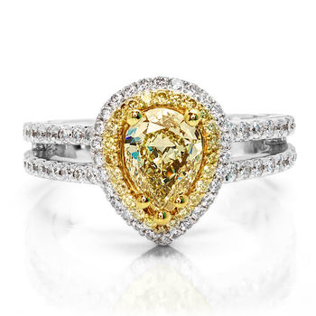 Fancy Yellow Pear Shaped Diamond Ring - Pear Shape Yellow Diamond Engagement Ring