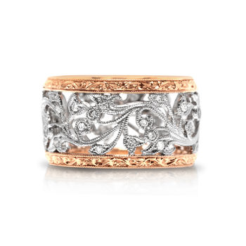 Beverley K Wide Diamond Band - Antique Diamond Vine Ring