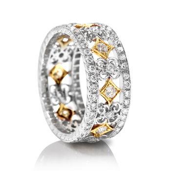 Beverley K White Gold and Diamond Band - Hand Engraved Diamond Wedding Band