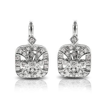 Beverley K White Gold & Diamond Earrings - Vintage Styled Diamond Earrings
