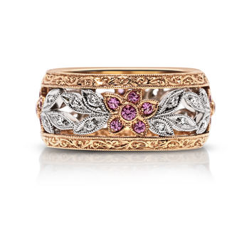 Beverley K Wide Floral Design Diamond Band with Pink Sapphires