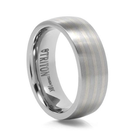 TRITON Titanium Wedding Band with 18K White Gold
