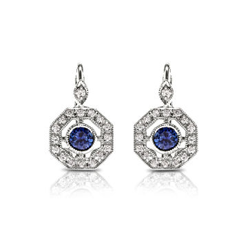 Beverley K White Gold, Diamond and Sapphire Earrings - Gorgeous!