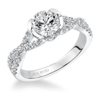 ADEENA ArtCarved Diamond Swirl Engagement Ring - 31-V596E