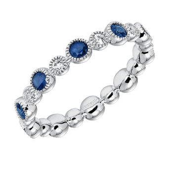 ArtCarved Sapphire and Diamond Band - 33-V14S4W65