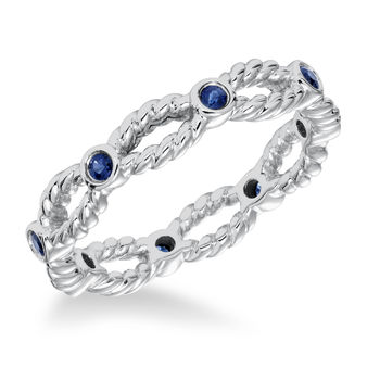 ArtCarved Bezel Set Sapphire and 14k White Gold Braided Rope Band - 33-V16S4W65