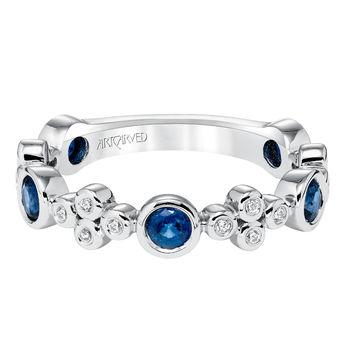 Artcarved Sapphire and Diamond Bezel Set Stackable Band - 33-V9139-L