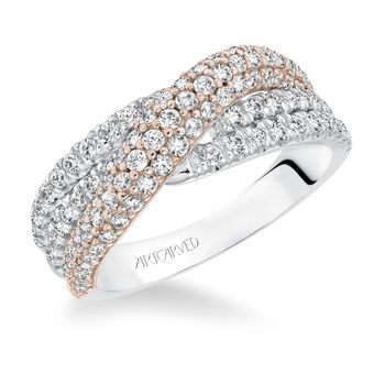 Two Tone Crossover Diamond Anniversary Band by ArtCarved - 33-V9143-L