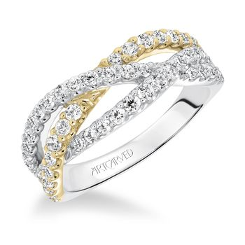 Two Tone Diamond Crossover Anniversary Band by ArtCarved - 33-V9144A-L