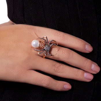 Black Widow Spider Ring - Spider Rose Gold Ring -  Yikes!