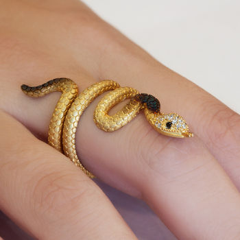 Snake Ring in Sterling Silver - Yellow Serpent Ring