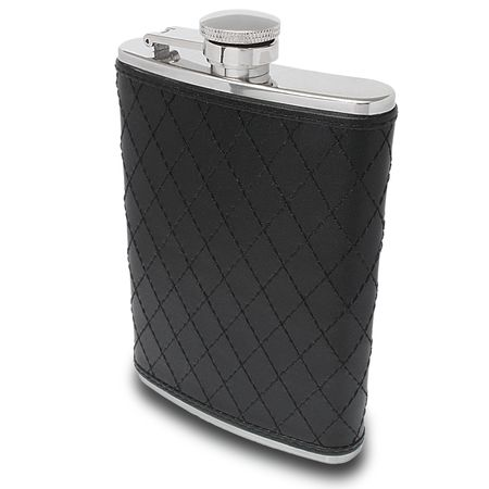 Black Cross-Stitched Leather Flask