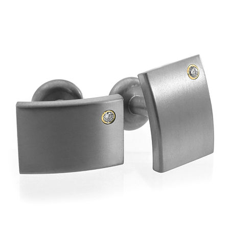 Edward Mirell Titanium Cufflinks with Diamonds