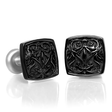 HERITAGE BLACK Titanium Square Cufflinks