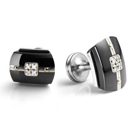 ROYALE Black Titanium and Diamond Cuff Links by Edward Mirell