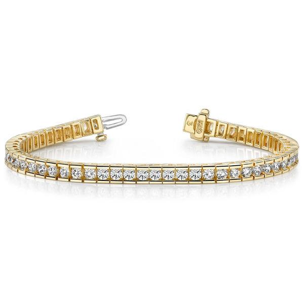 14K Yellow Gold Channel Set Diamond Tennis Bracelet - 4 ct Diamond Bracelet Sale in Modesto