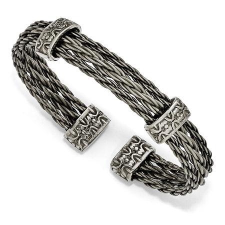 Edward Mirell Triple Titanium Cable Bracelet  - THORN Collection