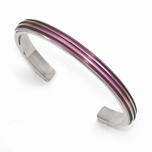 Triple Grooved Pink Anodized Cuff
