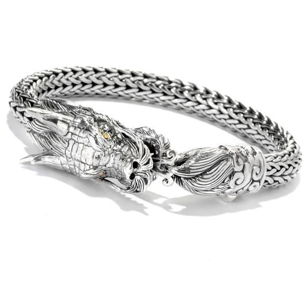 Sterling Silver Naga Dragon Bracelet by Samuel B - Mens Dragon Bracelet