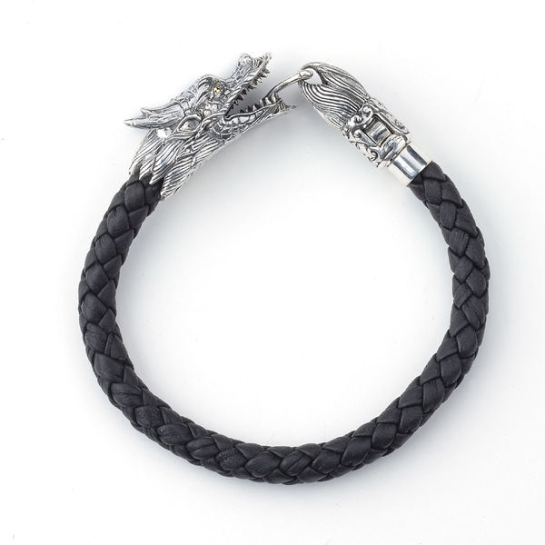 Naga Dragon Sterling Silver & 18k Leather Bracelet