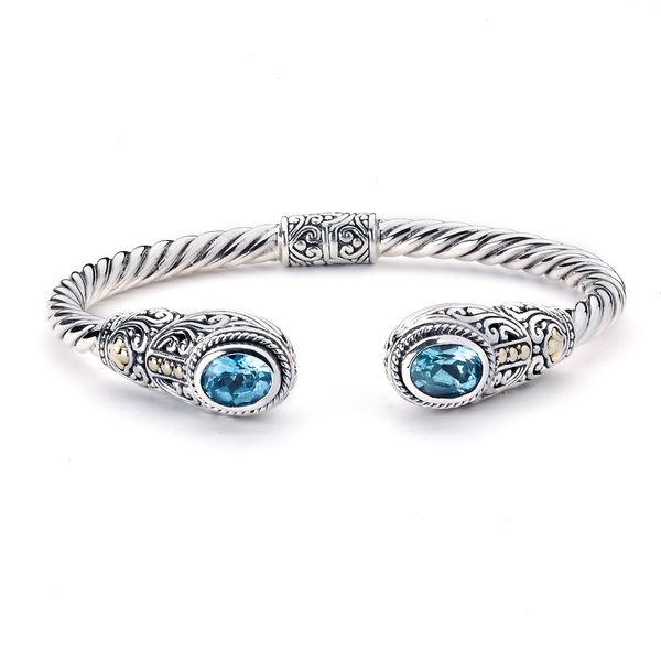 Ladies Samuel B Blue Topaz Twisted Cable Bracelet