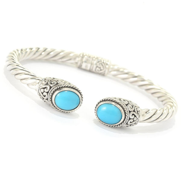Samuel B. Twisted Cable Sterling Bracelet with Turquoise - Sleeping Beauty Turquoise and Sterling Bracelet