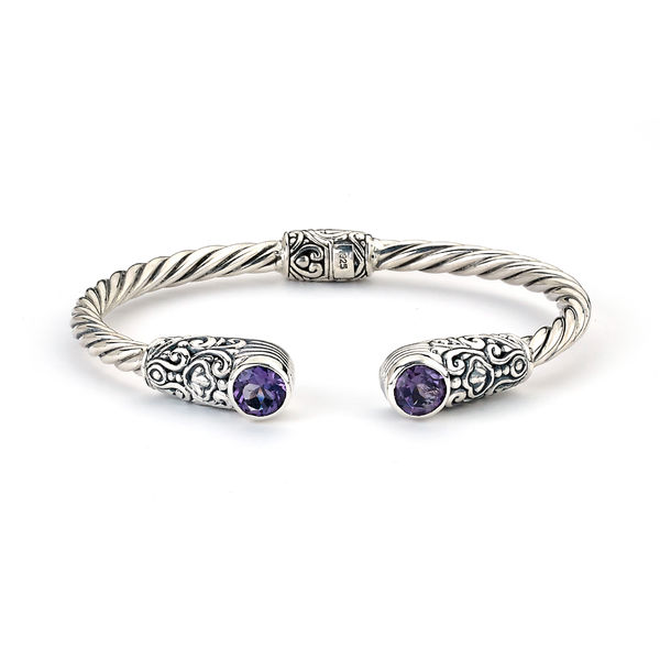 Samuel B. Amethyst and Sterling Silver Twisted Cable Bracelet