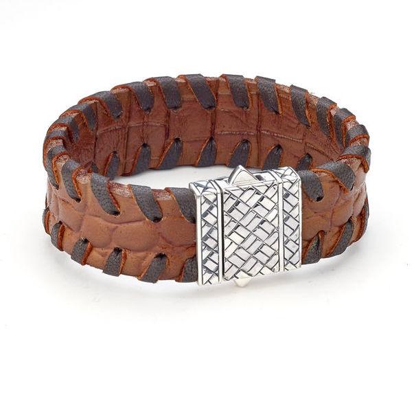 Samuel B Stitched Brown Leather Sterling Silver Bracelet