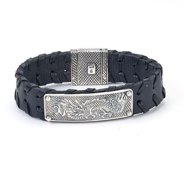 Samuel B Sterling Silver Naga Dragon Leather Bracelet