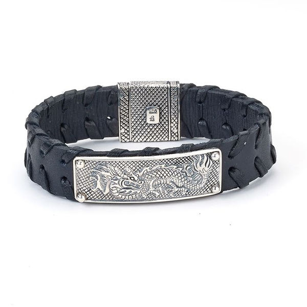 Samuel B. Dragon Leather Bracelet - Mens Naga Dragon Bracelet