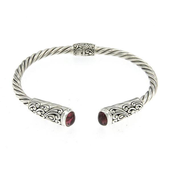 Samuel B. Twisted Cable Bracelet with Pink Tourmaline - Authorized Samuel B. Jeweler