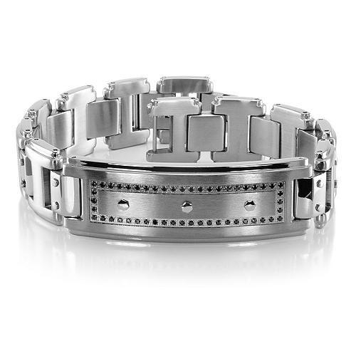 FORTE Black Diamond and Steel Bracelet by TRITON