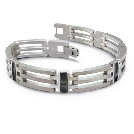 Titanium & Black Titanium Tri-Link Bracelet