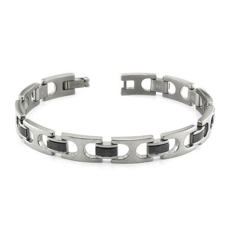 Titanium & Black Titanium Cuff Link Bracelet