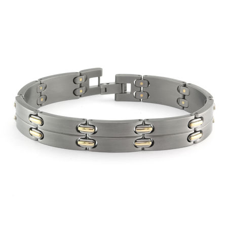 Titanium & 18K Gold Staple Link Bracelet