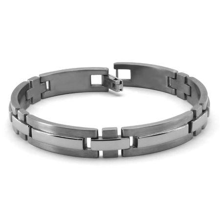 Mens Raised Center Titanium Bracelet, 10mm