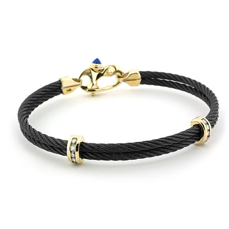 Black Titanium Cable & Diamond Mariners Bracelet