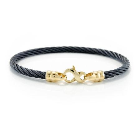 EDWARD MIRELL 4mm Black Titanium & 14k Gold Cable Bracelet - Mens