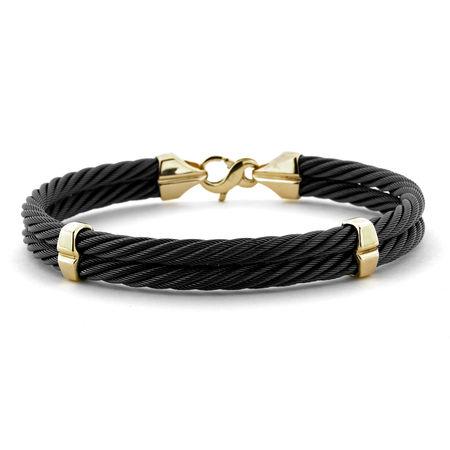 Black Titanium & 14K Gold Bracelet
