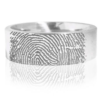 Cobalt Fingerprint Wedding Band - Finger Print Wedding Band in Cobalt
