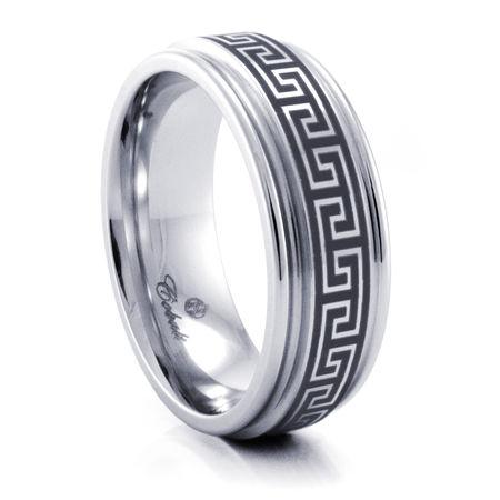 GREEK KEY Cobalt Chrome Ring by Heavy Stone Rings